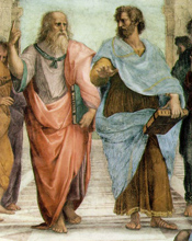 Detail depicts Plato and Aristotle, from School of Athens fresco, by Raphael
